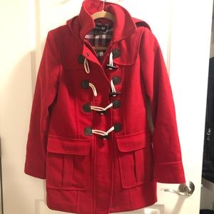 Red hooded fall/spring jacket with pockets